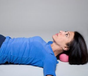 Miracle Ball Method - Elaine Petrone with neck on ball